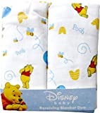 Disney Winnie The Pooh Receiving Blankets. Two Pack of Varied Prints and Styles. Boy 30' x 30'