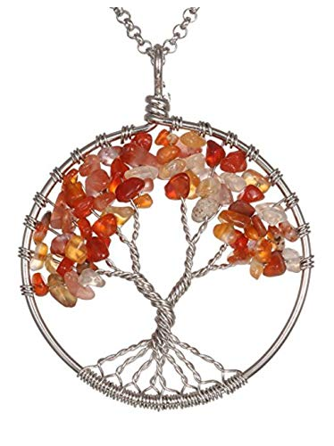 Top Quality Tree of Life Chakra Pendant Necklace Natural Carnelian Gemstone Chakra Jewelry 26