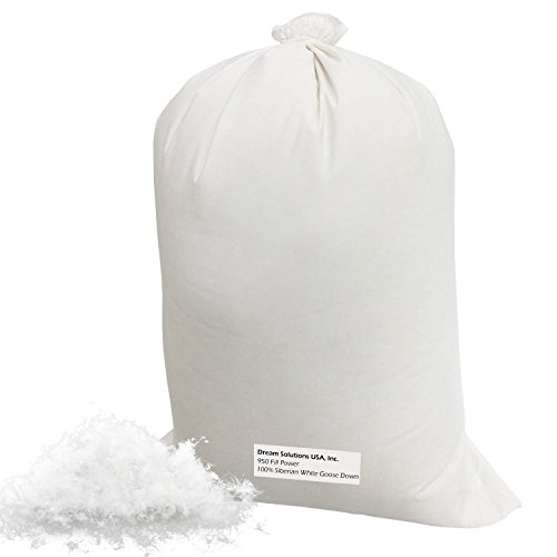 Bulk Siberian Goose Down Filling (1 lb) 850 Fill Power - 100% Natural White, No Feathers - Fill Comforters, Pillows, Jackets and More - Ultra-Plush Siberian Softness - Dream Solutions USA Brand