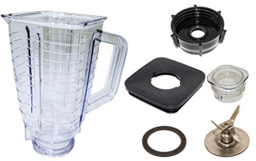 Plastic Replacement Parts - Blendin 5 Cup, Square Top Plastic Blender Jar, Complete. Fits Oster