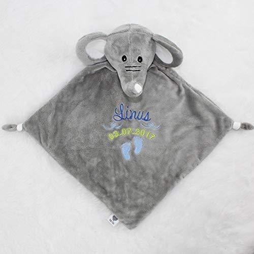 Baby Kuscheltuch Elefant mit Namen bestickt Geschenk Taufe Geburt