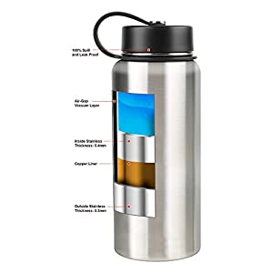 Tahoe Trails Double Wall Vacuum Insulated Stainless Steel Water Bottle (red orange, 40 oz)