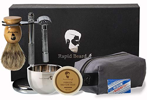 Shaving Kit for Men Wet Shave - Safety Razor with 10 blades, Shaving Badger Hair Brush, Sandalwood Shaving Soap Cream, Shaving Stand, Stainless Steel Bowl Mug, Canvas Dopp Kit - Stocking Gift Set