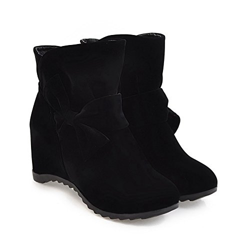 BalaMasa Womens Pointed-Toe Slip-Resistant Bows Wedges Suede Boots ABL09989 Black oktMh