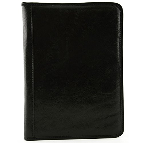 Portadocumenti In Pelle Vera Per Blocco A5 Colore Nero - Pelletteria Toscana Made In Italy - Business