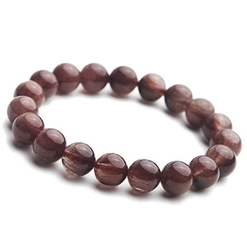 LiZiFang Natural Red Rutilated Quartz Bracelet 10mm Crystal Stretch Round Bead Bracelet ()
