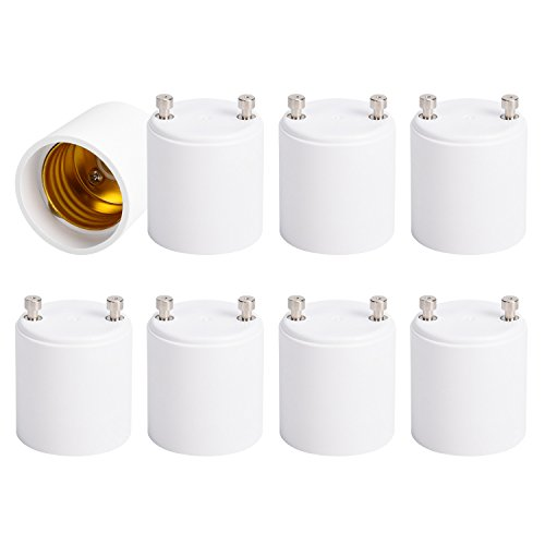 JACKYLED GU24 to E26 E27 Adapter 8-pack Heat Resistant Up to 200℃ Fire Resistant Converts GU24 Pin Base Fixture to E26 E27 Standard Screw-in Socket