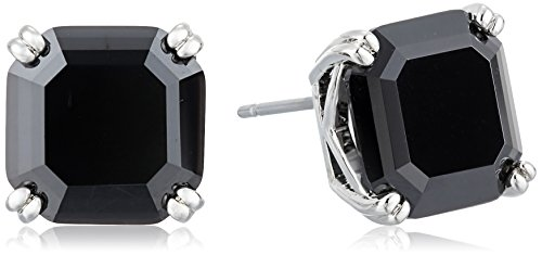 Nicole Miller 10 mm Signature Asscher Prong Rhodium/ Black Spinel Stud Earrings Black Spinel Earrings
