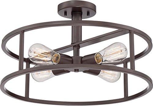 10.5 Inch Semi Flush - Quoizel NHR1718WT New Harbor Vintage Semi Flush Mount Ceiling Lighting, 4-Light, 400 Watts, Western Bronze (11
