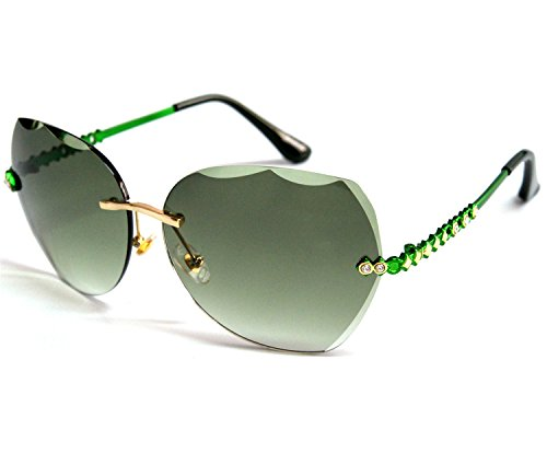 VOLCHIEN Green Metal Rimless Geometic Ladies Sunglasses For WomenUV Protection Cheap Fashion Green Arm Oval Green Lens VC1013 for $<!--$11.49-->