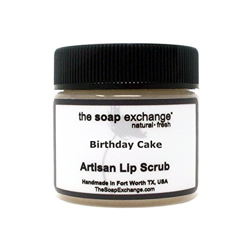 The Soap Exchange Lip Scrub - Birthday Cake Flavor - Hand Crafted 1.5 oz / 42.5 g Natural Lip Care, Artisan Lip Treatment, Exfoliate, Hydrate, Protect. Made in the USA.