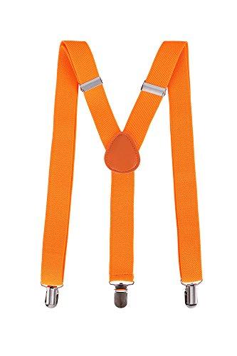 Livingston Halloween Party Accessory Unisex Clip-On Adjustable Elastic Suspenders, - Men Orange For