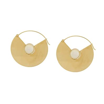 4951fd45a38 Amazon.com: 18K Gold Plated Large Disc Earrings Round Coin Dangle ...