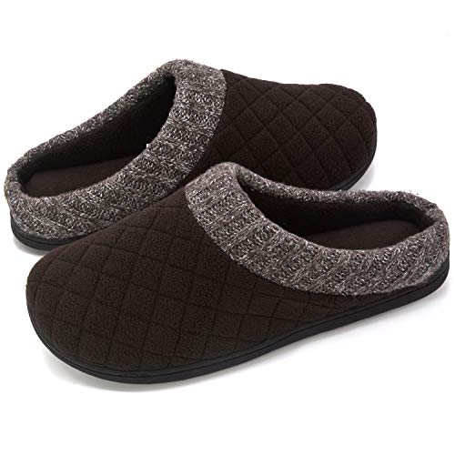 RockDove Men's Comfort Memory Foam Slippers Ribbed Hand Knit Collar Clog House Shoes (9-10 D(M) US, Coffee)