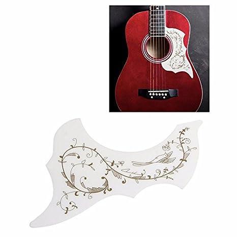 Guitarra Pickguard Hummingbird arañazos Fondo de la placa blanca ...