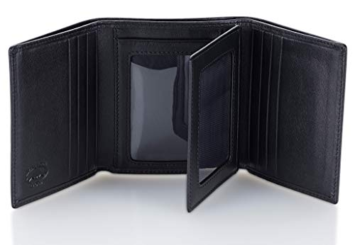 Stealth Mode Leather Trifold RFID Wallet For Men With Flip Out ID Holder (Flap Medium Black Leather Wallet)