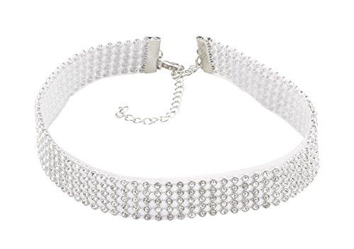 Silver-Tone 5-Row Rhinestone Choker Necklace Row Rhinestone Necklace