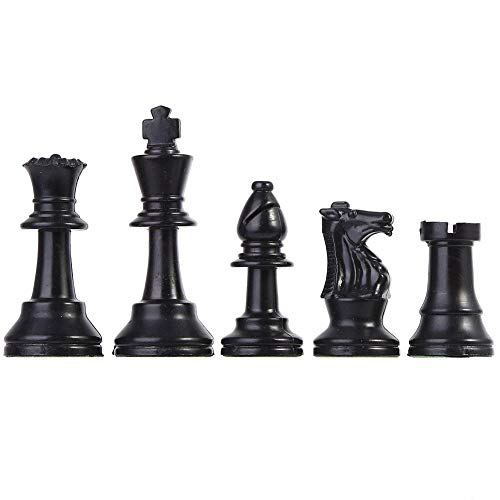 Zer one Chess Pieces Plastic Chessmen Set International Chess Game Black&White (Medium 64mm)