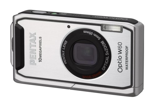 Pentax Optio W60 Waterproof 10MP Digital Camera with 5x Wide Angle Optical Zoom (Silver) Pentax Optio Waterproof Camera