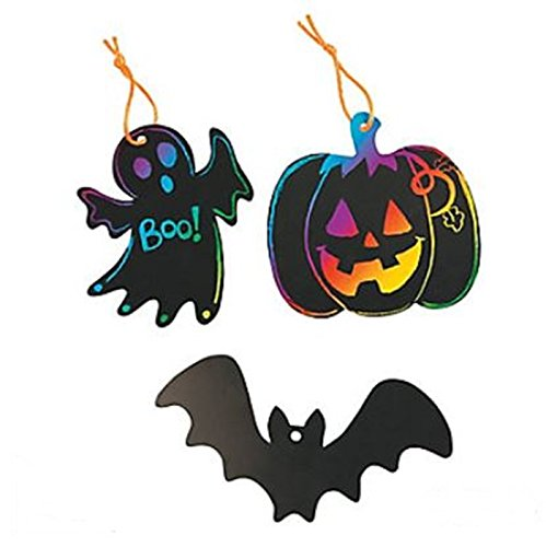 happy deals Halloween magic scratch ornaments - Bulk lot includes 50 shapes, 50 scratching tools and 50 satin cords -
