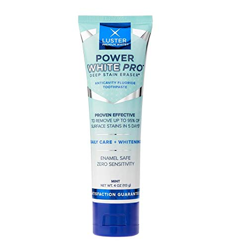 Luster Premium White | Power White Pro Daily Care Deep Stain Eraser Teeth Anticavity Fluoride Whitening Toothpaste, Mint