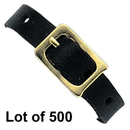 500 Black Leather Luggage Tag Loop Buckle Strap Luggage Travel Tags by Lantor