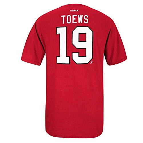 Jonathan Toews Chicago Blackhawks Red Reebok Adult Gametime Twill Player T-Shirt (Small) (Player Twill)