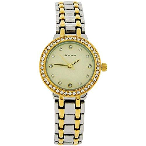 Sekonda Cream Dial Stone Set Bezel Two Tone Metal Bracelet Strap Watch SK4689  - Bezel Watch Stone Set