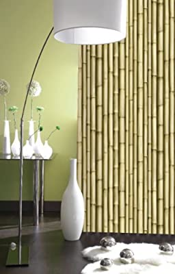J22317 - Galerie Washable Feature Wallpaper Bamboo Effect