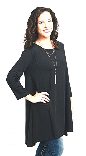 Women's Tunic Top. Black, Dressy, Loose Fit, Pullover, Shirt. Casual Travel Top.