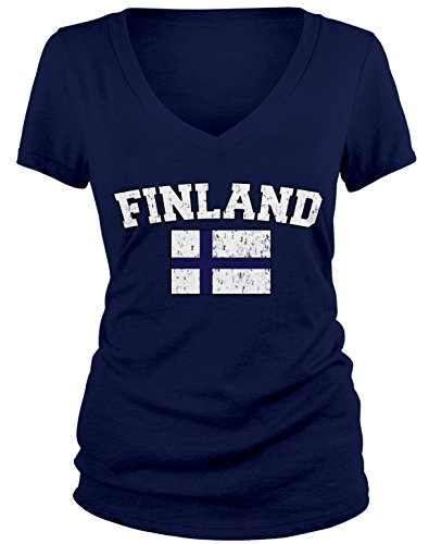 Amdesco Junior's Finnish Finn Flag, Home Flag of Finland V-Neck T-Shirt, Navy Blue Small Finland Flag T-shirt