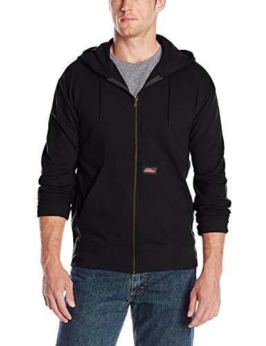 Dickies Mens Lightweight Zip Up Fleece Hoodie, Black (Mens Dickies Sweatshirts)