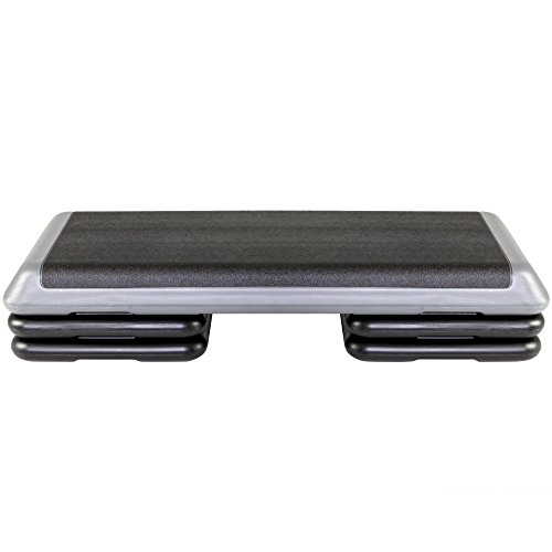 The Step Original Aerobic Platform for Total Body Fitness – Health Club Size with Grey Platform and 4 Original Black Risers