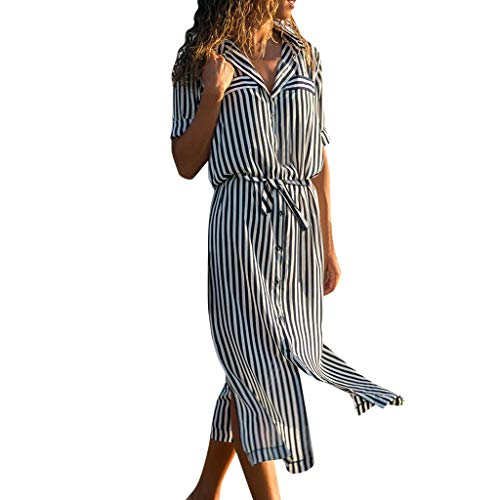 (Women Multicolor Striped Buttons Lapel Half Sleeve Long Dress Casual Cocktail Club Party Robe Dresses Beach Sundress)