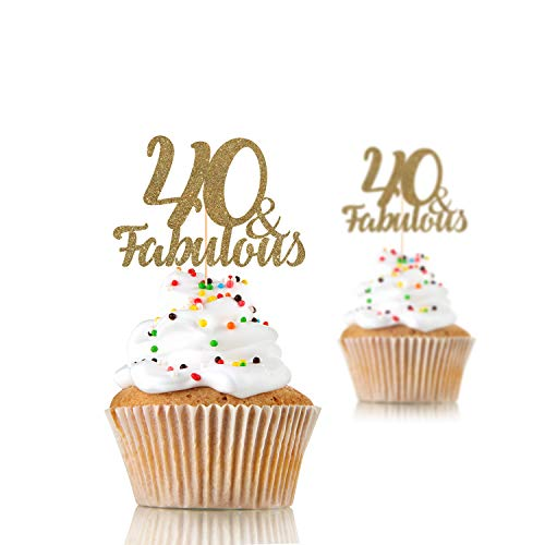 Age and fabulous cupcake topper. 12 pieces. 30, 40, 50, 60, 70, 80, 90 and fabulous. Any age, birthday party decorations]()