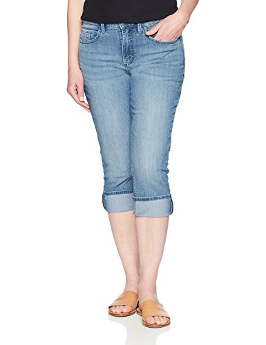 Riders by Lee Indigo Women's Rolled Cuff Midrise Denim Capri, Light wash, 6 AVG