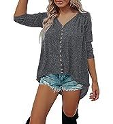 BTFBM Women's Sweatshirts Casual Long Sleeve V Neck Buttons Solid Color Irregular Hem Loose Pullo...