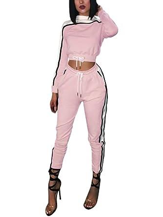 Minetom Femmes Jogging Yoga Gym Survêtement Sports Suits Manches Longues  Crop Top Sweat-Shirt et Pantalon Ensemble de Sportwear Vêtement de Sport  2pcs  ... 50ad0846357