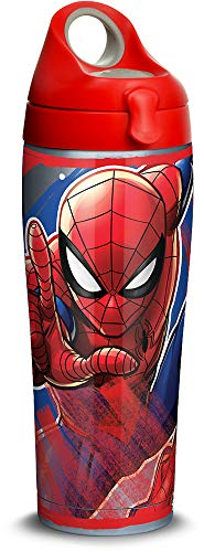 (Tervis 1319348 Marvel - Spider-Man Iconic Stainless Steel Insulated Travel Tumbler with Red with Gray Lid, 24oz Water Bottle, Silver)