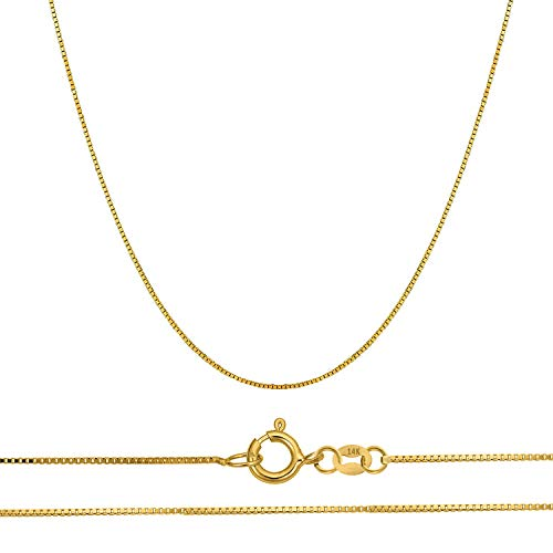 Orostar 14K Solid Gold 0.45mm Thin Box Chain Pendant Necklace, 16