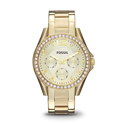 Fossil Women's ES3203 Riley Multifunction Gold-Tone Stainless Steel Watch