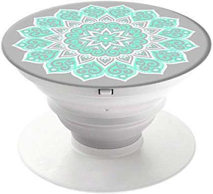 Collapsible Grip & and Tablets Stand - Black (Peace Mandala Tiffany) (Tiffany Blau)