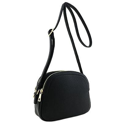 Double Zip Half Moon Crossbody Bag