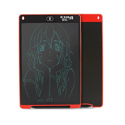 CHUYI highlights 12 inch Slim LCD Writing Tablet Children Graffiti Painting Electronic Drawing Graphics Board Hand-Painted Board Magnetic Office Board with Stylus Pen-Great Gift for Kids (Red)