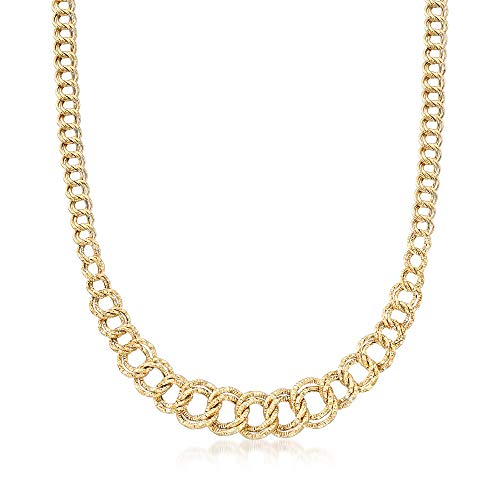 Ross-Simons 14kt Yellow Gold Double-Oval Graduated Link Necklace ()