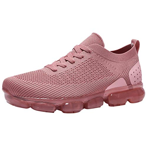 Aubbly Women Men Slip On Flats Comfortable Walking Mesh Athletic Lightweight Outdoor Hiking Footwear Flat Sneakers Pink