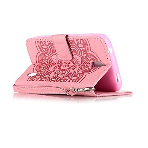 [ Huawei Y625 ] Funda Protector de Funda para Telefono Movil,Huawei Y625 Funda Caso de PU Cuero Leather,El Patrón de la Tribu Retro Moda Funda para Huawei Y625,Flip Folio Bookstyle con Cierre Magnétic Campánula Rosa