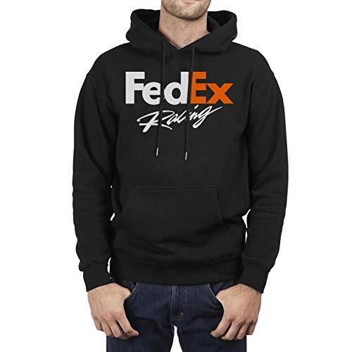 (Men Fleece Long Sleeve Pullover Hoodie FedEx-Racing-Logo- Kangaroo Pocket Novelty Pullover)