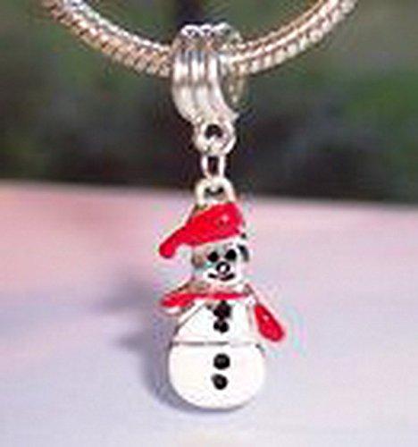 Holiday Enamel (Glamorise Beads #14217 Christmas Snowman Enamel Holiday Dangle Bead fits Silver European Charm)
