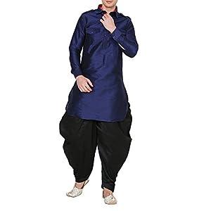 Royal Kurta Men's Polyester Pathani Kurta Salwar Set